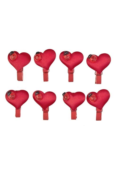 Набор украшений на прищепке Повелитель сердцаСувениры и упаковка<br>Выс=3.5см, дерево, пластм., красный, на прищеп<br>