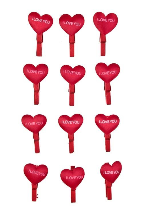 Набор украшений на прищепке Атласные сердцаДекоративные прищепки<br>Выс=3см, дерево, войлок, красный, на прищепке<br>