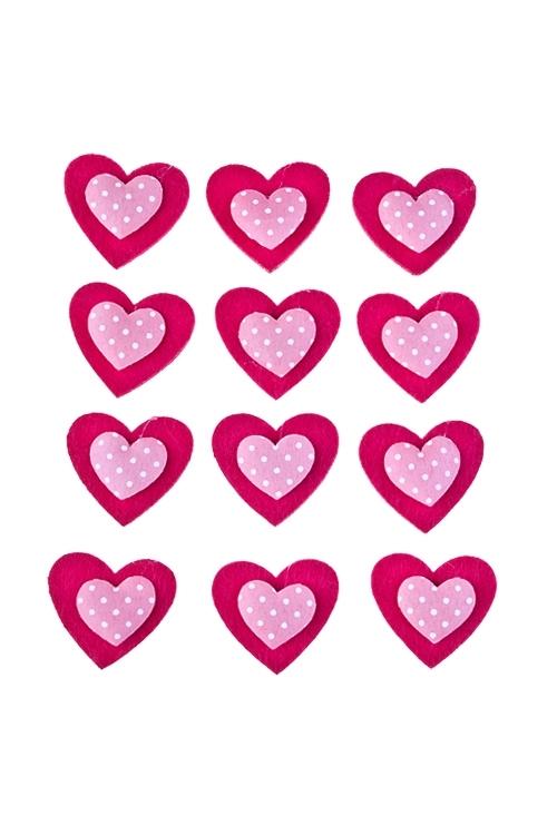 Набор украшений на липучке Миленькие сердечкиСувениры и упаковка<br>Выс=3см, войлок, на липучке, в блистере<br>