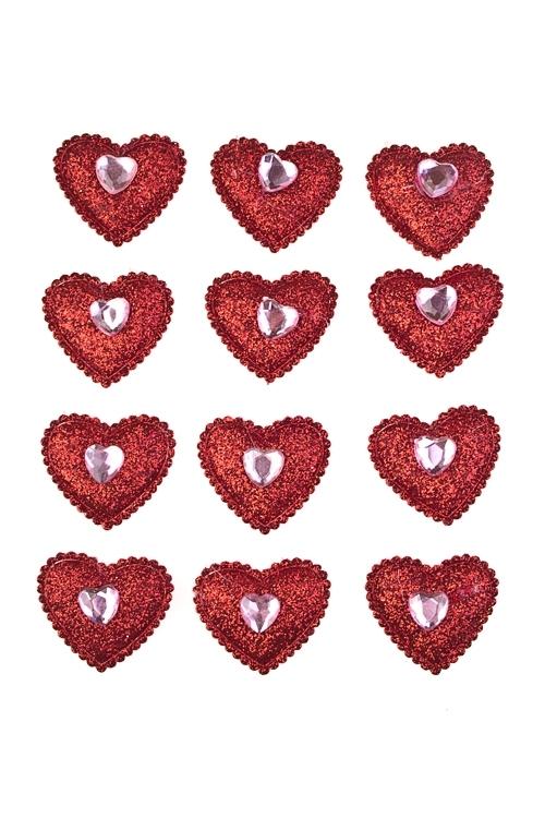Набор украшений на липучке Искрящиеся сердцаСувениры и упаковка<br>Выс=3см, текстиль, на липучке, в блистере<br>