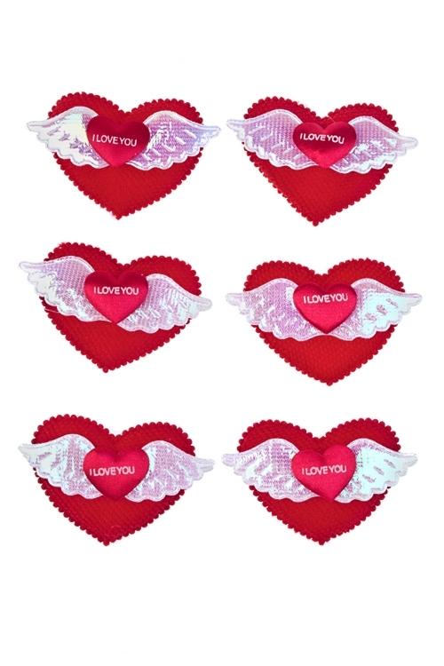 Набор украшений на липучке Крылья любвиСувениры на липучке<br>Выс=4см, текстиль, на липучке, в блистере<br>