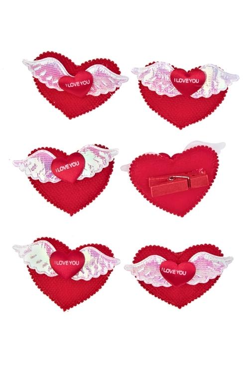 Набор украшений на прищепке Крылья любвиСувениры и упаковка<br>Выс=4см, текстиль, на прищепке, в блистере<br>
