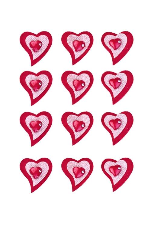 Набор украшений на липучке Объемные сердцаСувениры на липучке<br>Выс=3.5см, войлок, на липучке, в блистере<br>