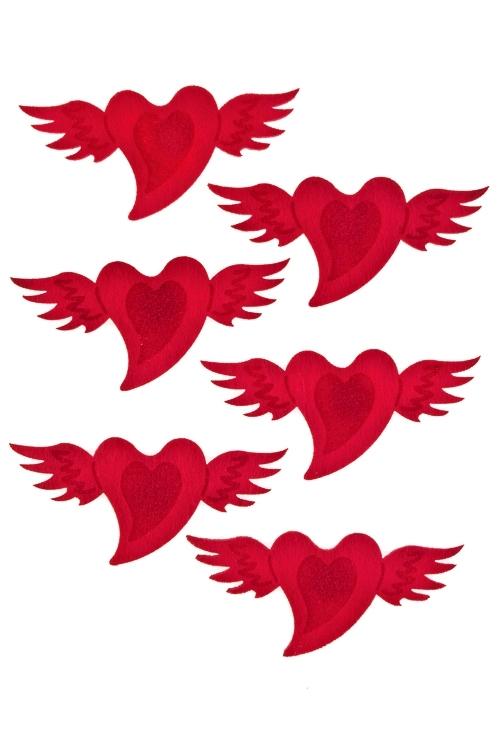 Набор украшений на липучке Порхающие сердцаСувениры на липучке<br>Выс=5см, войлок, на липучке, в блистере<br>