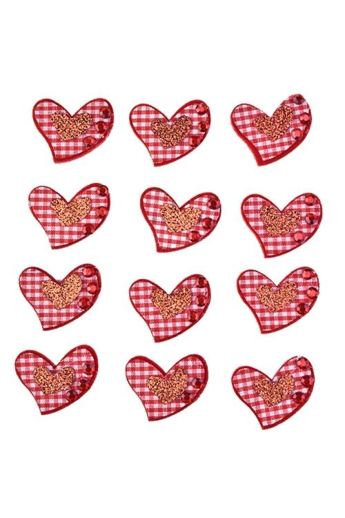 Набор украшений на липучке Сердца в клеточкуСувениры на липучке<br>Выс=3см, войлок, на липучке, в блистере<br>