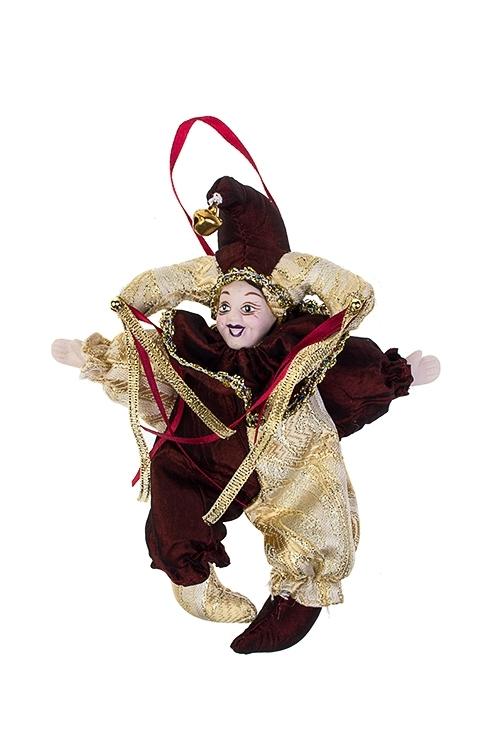 Украшение декоративное АрлекинИгрушки и куклы<br>Выс=16см, текстиль, фарфор, борд.-золот., подвесное<br>