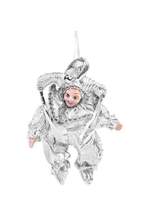 Украшение декоративное АрлекинИгрушки и куклы<br>Выс=16см, текстиль, фарфор, бело-серебр., подвесное<br>