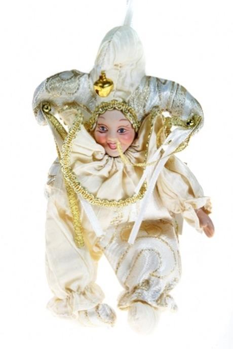Сувенир АрлекинЕлочные игрушки<br>Выс=16см, текстиль, фарфор, бело-золот., подвесной (2 вида)<br>
