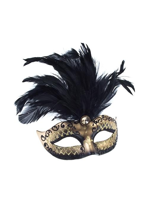 Украшение декоративное КарнавалРазвлечения и вечеринки<br>Дл=10см, пласт., перо, черно-золот., подвесное<br>