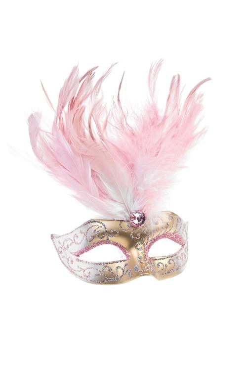 Украшение декоративное КарнавалМаски<br>Дл=10см, пласт., перо, розово-золот., подвесное<br>