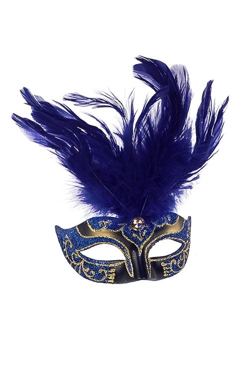 Украшение декоративное КарнавалСувениры и упаковка<br>Дл=10см, пласт., перо, сине-золот., подвесное<br>