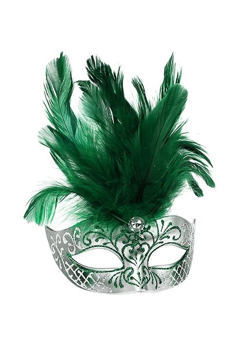 Украшение декоративное КарнавалСувениры и упаковка<br>Дл=10см, пласт., перо, изумрудно-серебр., подвесное<br>