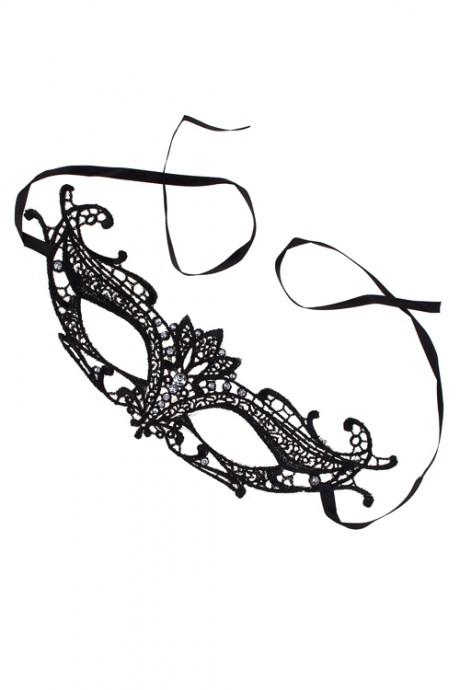 Маска карнавальная для взрослых КружевоРазвлечения и вечеринки<br>Текстиль, черная<br>