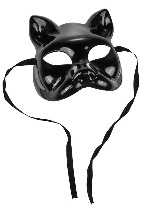 Маска карнавальная для взрослых Кошка в латексеРазвлечения и вечеринки<br>Пластм., черная<br>