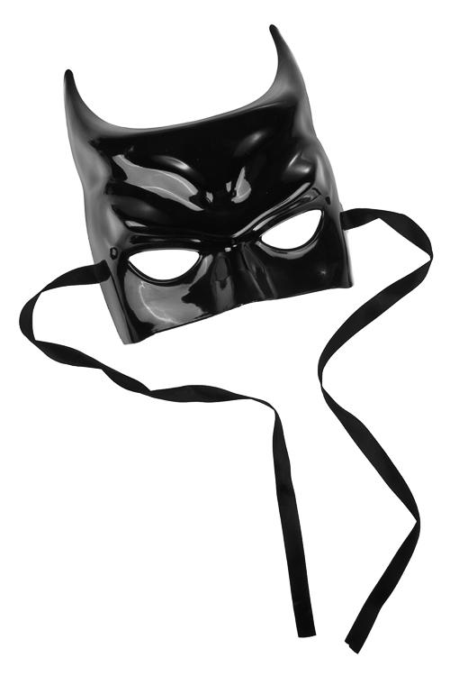 Маска карнавальная для взрослых Летучая мышь в латексеМаски<br>Пластм., черная<br>