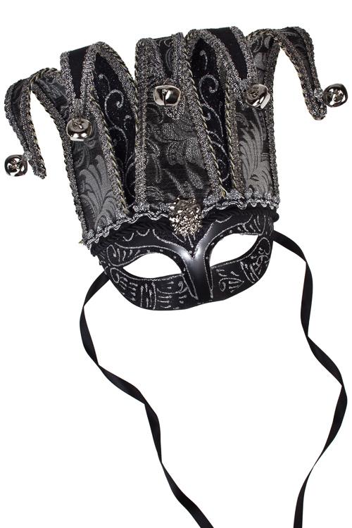 Маска карнавальная для взрослых Прекрасный Арлекин в треуголкеМаски<br>Пласт., текстиль, черно-серебр.<br>