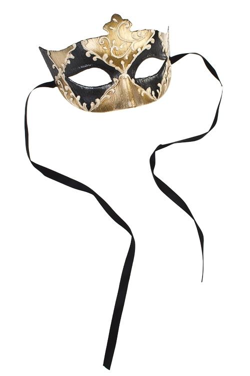 Маска карнавальная для взрослых АрлекиноМаски<br>Пласт., черно-крем.-золот.<br>