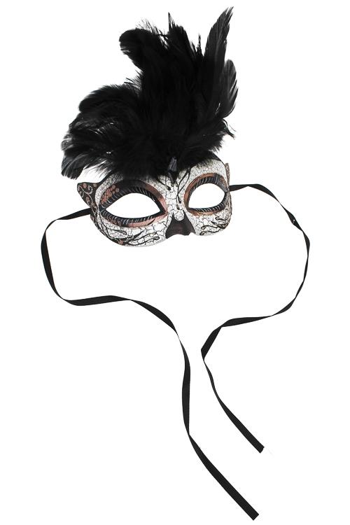 Маска карнавальная для взрослых КарнавалРазвлечения и вечеринки<br>Пластм., перо, крем.-черно-медная<br>