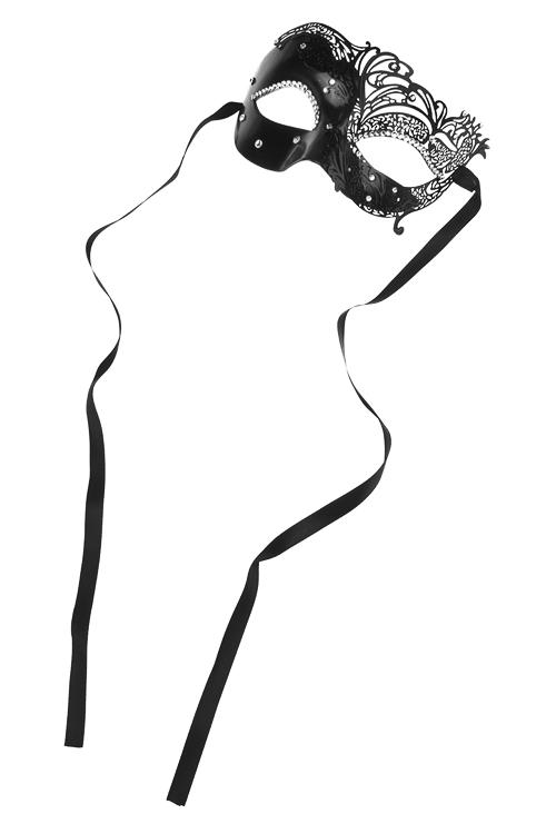 Маска карнавальная для взрослых Загадочная ВенецияМеталл, пластм., черная<br>