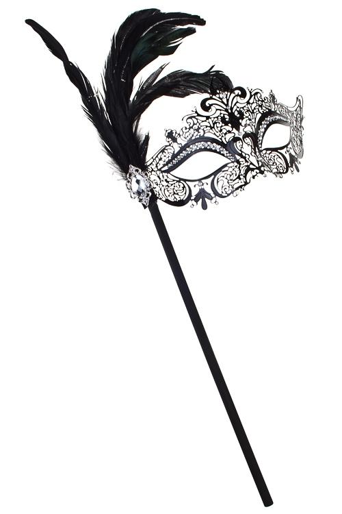 Маска карнавальная для взрослых ВенецияРазвлечения и вечеринки<br>Металл, перо, черная, на палке<br>