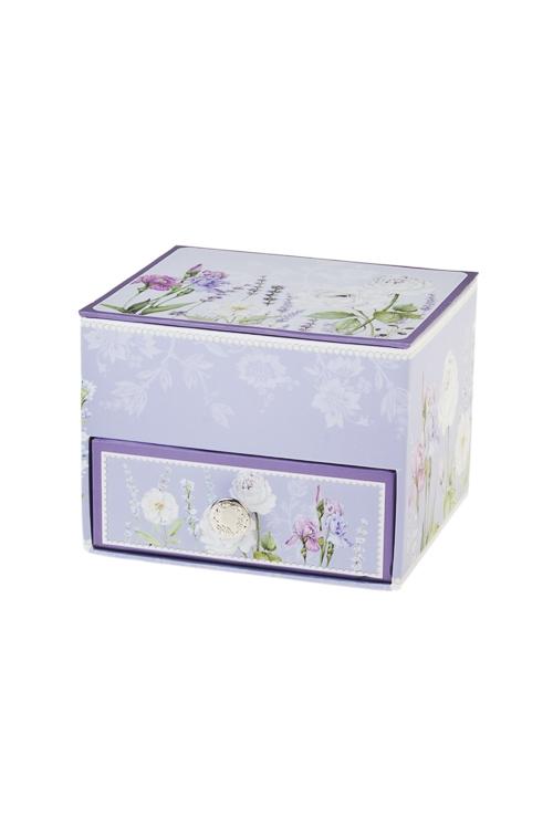 Шкатулка для ювелирных украшений Аромат лавандыШкатулки для украшений<br>11*9.5*8.3см, картон<br>