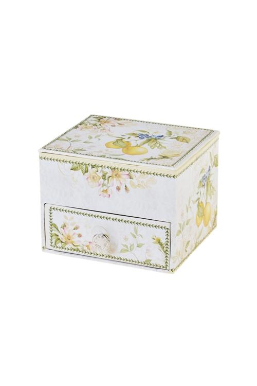 Шкатулка для ювелирных украшений Лимонное настроениеШкатулки для украшений<br>11*9.5*8.3см, картон<br>