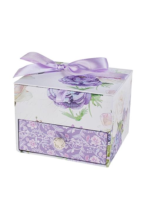 Шкатулка для ювелирных украшений Сиреневый райШкатулки и наборы по уходу<br>11*9.5*8см, картон<br>