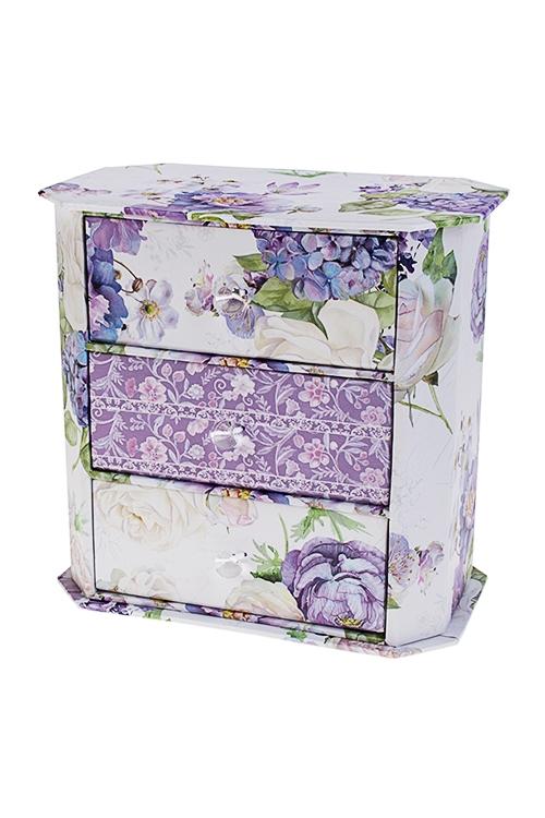 Шкатулка для ювелирных украшений Сиреневый райШкатулки и наборы по уходу<br>17*10*16.5см, картон<br>