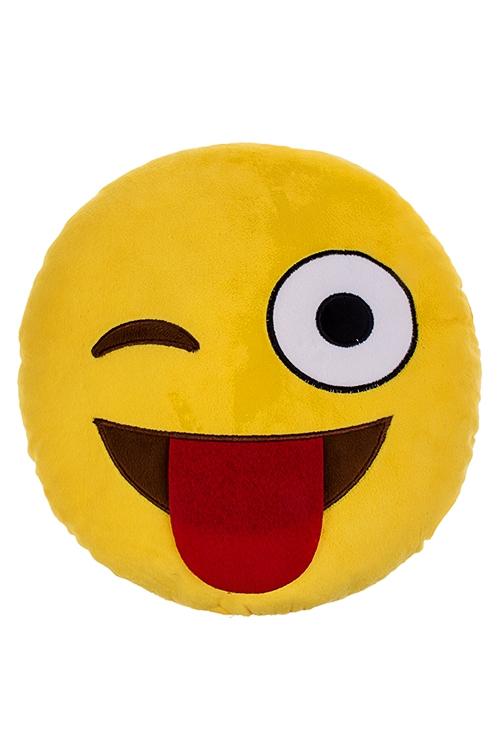 Игрушка мягконабивная Игривый смайлПодарки на день рождения<br>Д=30см, текстиль, желтая.<br>