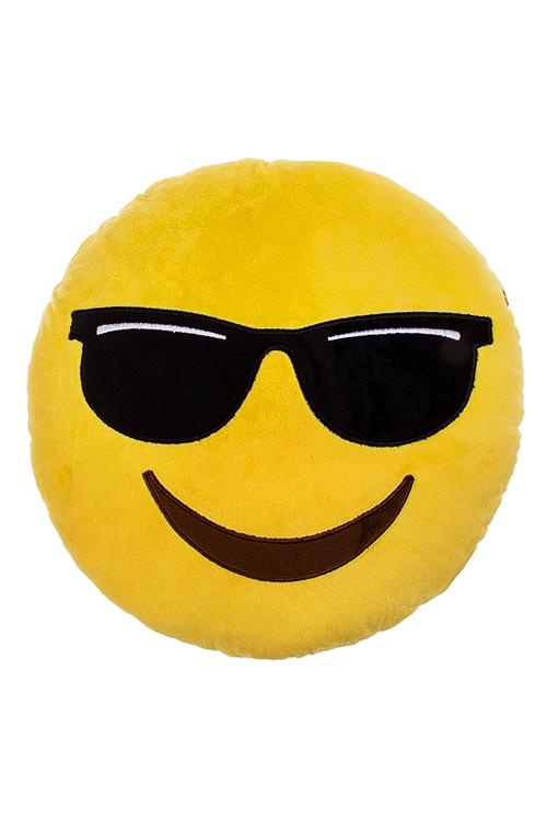 Игрушка мягконабивная Крутой смайлПодарки ко дню рождения<br>Д=30см, текстиль, желтая.<br>