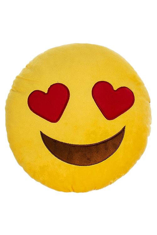 Игрушка мягконабивная Влюбленный смайлПодарки ко дню рождения<br>Д=30см, текстиль, желтая.<br>