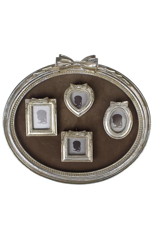 Рамка для 4-х фото Изящные бантыИнтерьер<br>29*25см, фото 9*9см, 9*13см, полирезин, стекло, серебр.<br>
