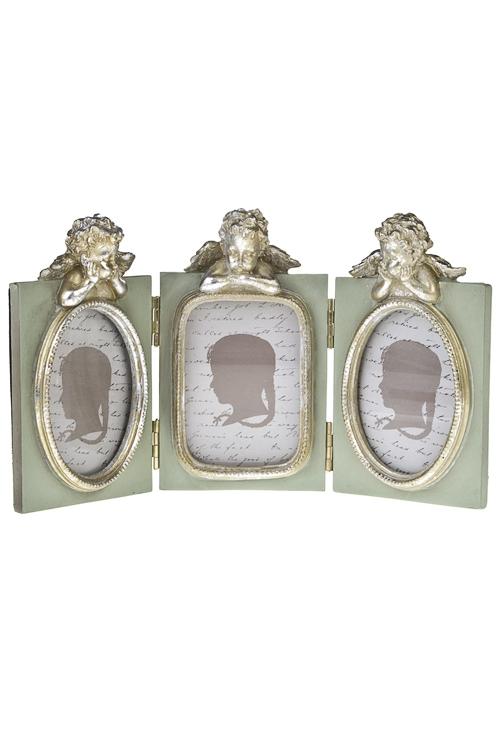 Рамка для 3-х фото Мечтающие ангелочкиИнтерьер<br>26*14см, фото 6*9см, полирезин, стекло, мятно-золот.<br>