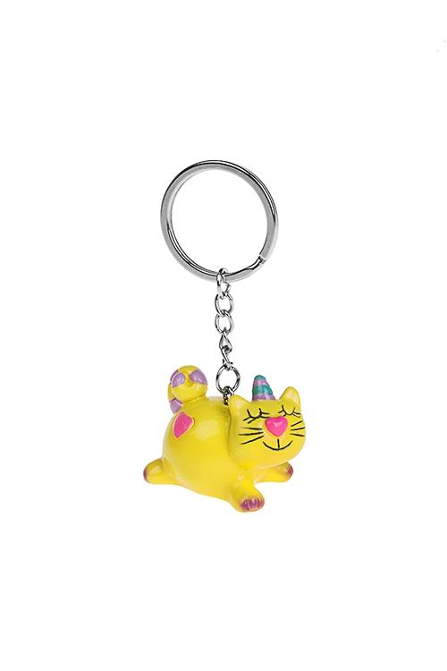 Брелок Сказочный котикСувениры на День рождения<br>Дл=3см, полирезин, желтый<br>