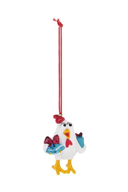 Украшение декоративное Цып с подаркомСувениры и упаковка<br>Выс=5см, полирезин, бело-красно-голубое, подвесное<br>