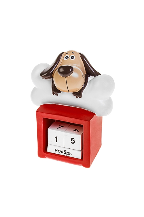 Календарь настольный Хэппи с косточкойНастольные календари<br>Выс=12см, полирезин, беж.-коричн.-красно-белый<br>