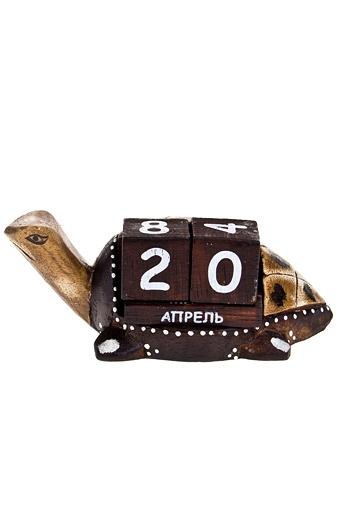 Календарь настольный Счастливая черепашкаНастольные календари<br>17*10*6см дерев. коричн.<br>