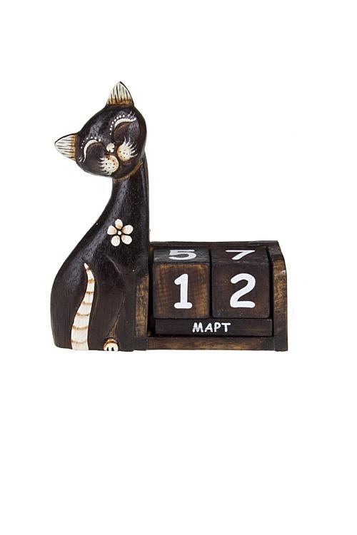 Календарь настольный Красивая кошкаНастольные календари<br>15*5*16см, дерев. черно-белый<br>