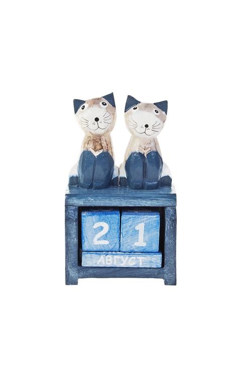 Календарь настольный Два котикаУчеба и работа<br>12*7*4см, дерев. бело-синий<br>