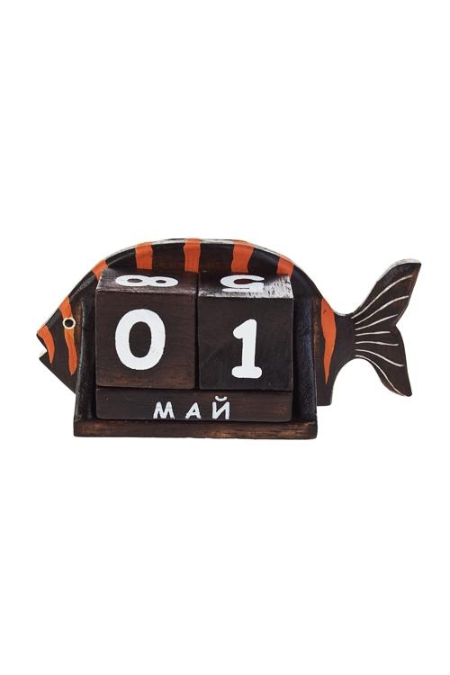 Календарь настольный РыбкаУчеба и работа<br>17*7*11см, дерев. оранж.-коричн.<br>