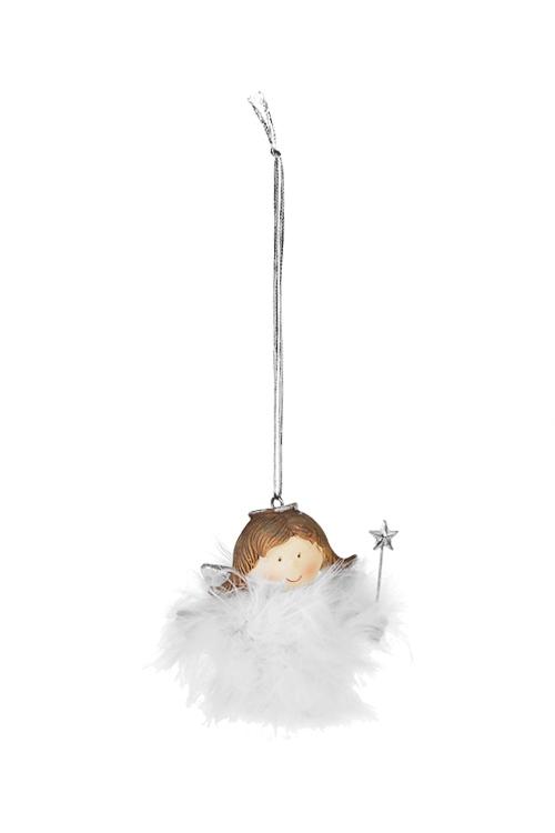Украшение декоративное Милый ангелокПодарки<br>Выс=7см, полирезин, белое, подвесное (2 вида)<br>