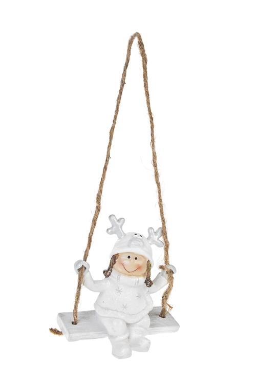 Украшение декоративное Малышка на качеляхПодарки<br>Выс=9м, полирезин, бело-серебр., подвесное (2 вида)<br>