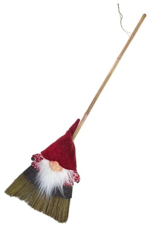 Украшение декоративное Метла - ДомовенокПодарки<br>Дл=130см, полирезин, красно-бело-зеленое<br>