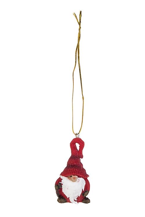 Украшение декоративное Гномик в колпакеСувениры и упаковка<br>4*7см, полирезин, бело-красное, подвесное (2 вида)<br>