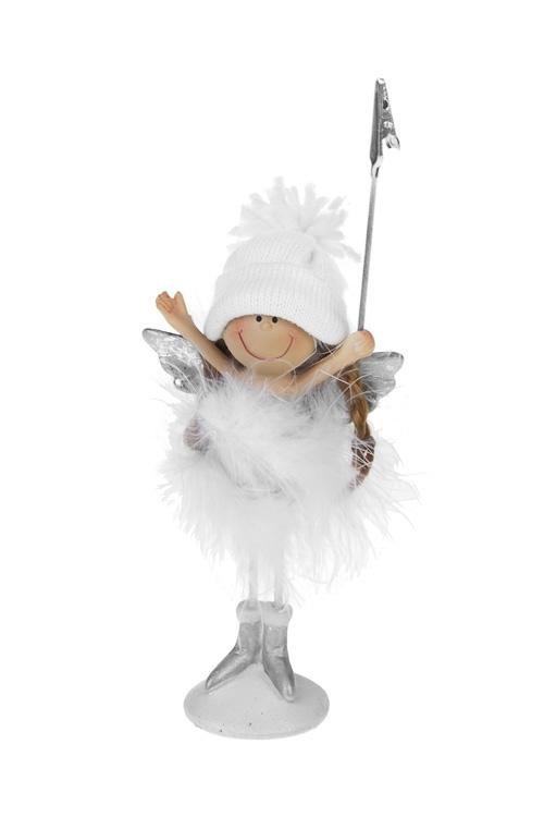 Держатель для фото Милый ангелокДержатели-зажимы для фото<br>Выс=16.5см, полирезин, белый (2 вида)<br>