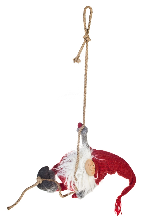 Кукла декоративная Веселый гномикИгрушки и куклы<br>Дл=40см, полирезин, текстиль, красно-серая, подвесная<br>