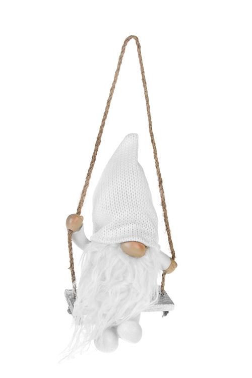 Кукла декоративная Гномик на качеляхКуклы<br>Выс=17см, полирезин, текстиль, белая (2 вида)<br>