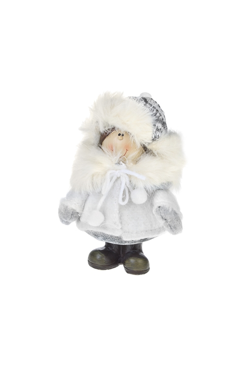Кукла декоративная Малыш на прогулкеИгрушки и куклы<br>Выс=15см, полирезин, текстиль, бело-серая (2 вида)<br>