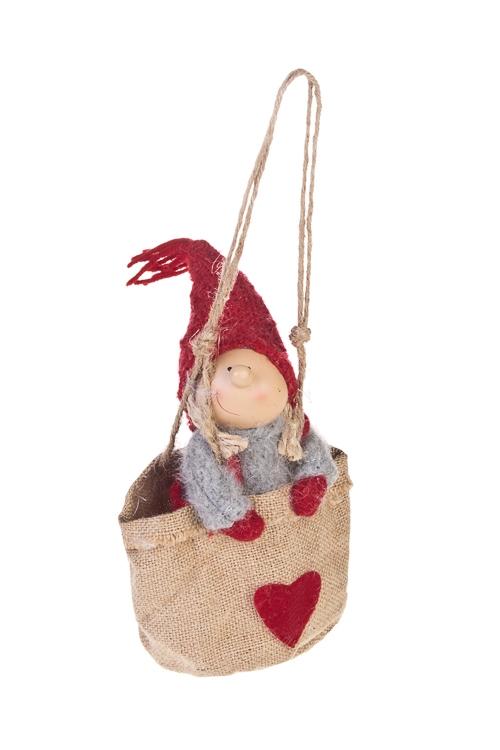 Кукла декоративная Малыш в мешочкеИгрушки и куклы<br>Выс=20см, полирезин, текстиль, серо-красная, подвесная<br>