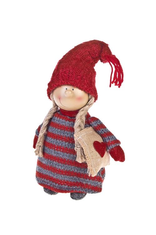 Кукла декоративная Улыбчивая девочкаКуклы<br>Выс=21см, полирезин, текстиль, красно-серая (2 вида)<br>